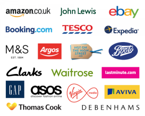 Logos of some of the shops you can access through Easyfundraising