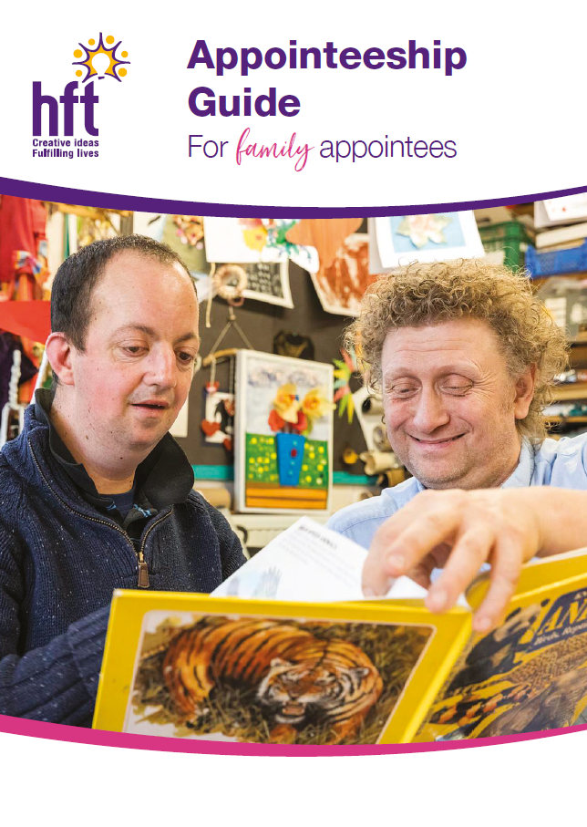 An image of the front cover of the Appointeeship Guide for family appointees. Depicted are two people looking through a book of animals together.